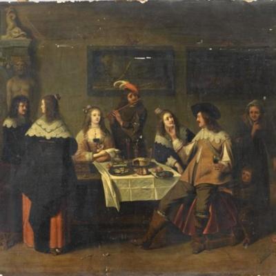 El hijo pródigo entre las cortesanas, de van der Laemen (1630, c.)