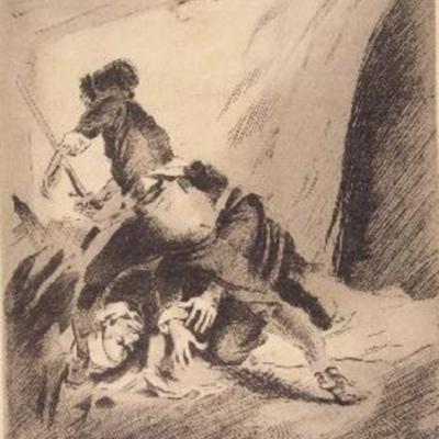 Pelea entre Celestina, Sempronio y Pármeno, de Enríquez de Navarra (1946 c.)