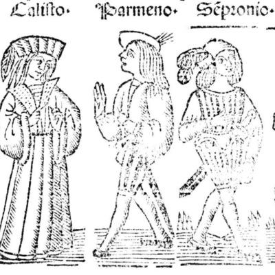 Ilustración del acto V de la edición de Roma: Marcelo Silber, 1515 (colofón Stanislao Polono, Sevilla, 1502)