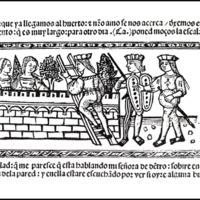 Grabado (primero) del acto XIX de la edición de Valencia (1514)