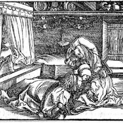 Grabado (segundo) del acto X de la edición de Augsburg (1520)