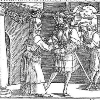 Grabado (primero) del acto II de la edición de Augsburg (1520)
