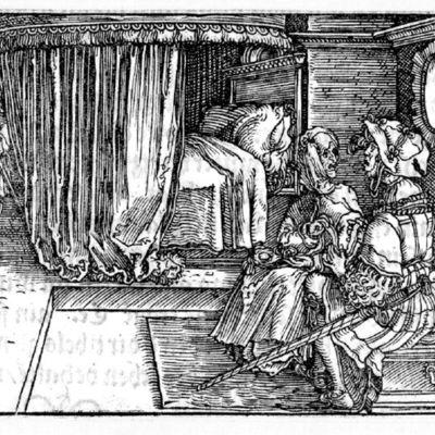 Grabado del acto VI de la edición de Augsburg (1520)