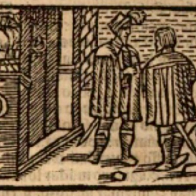 Ilustración primera del acto XIII de la edición de Estella (1557)