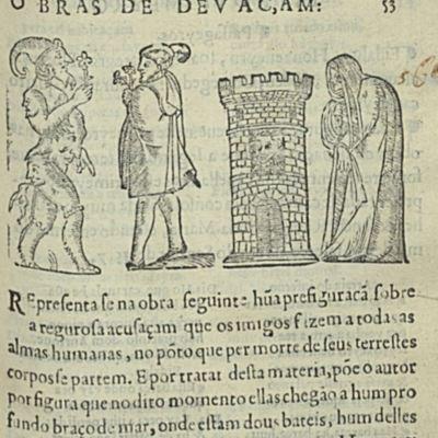 Grabado con alcahueta en Auto da Barca do Inferno, de Gil Viente (1586)