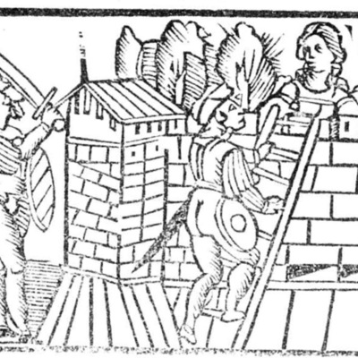 Ilustración del acto XIV de la edición de Roma: Marcelo Silber, 1515 (colofón Stanislao Polono, Sevilla, 1502)
