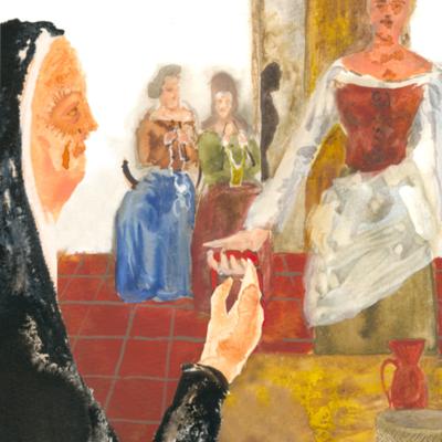 Melibea ofrece un cordón a Celestina, de Acedo (2008, c.)