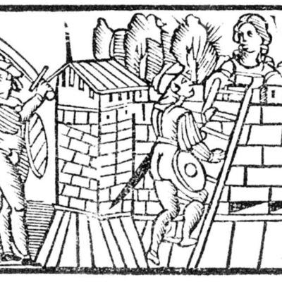 Ilustración primera del acto XIX de la edición de Roma: Marcelo Silber, 1515 (colofón Stanislao Polono, Sevilla, 1502)
