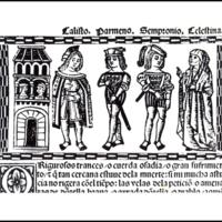 Grabado del acto V de la edición de Valencia (1514)