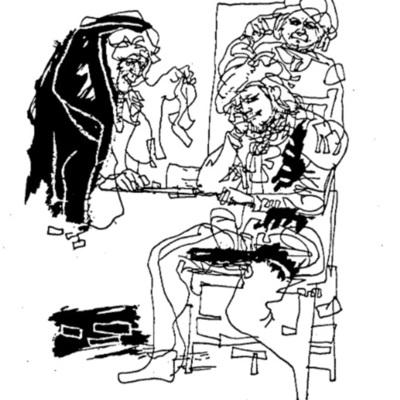 Ilustración de Celestina que le trae a Calisto el cordón de su Melibea de la edición de Budapest (1979)