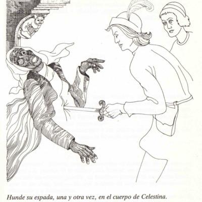 Ilustración segunda del acto XII de la página 79 de la edición Barcelona, 1988.