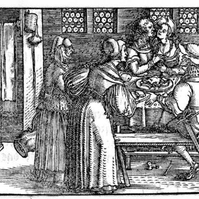 Grabado del acto IX de la edición de Augsburg (1520)