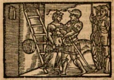 Ilustración primera del acto XX de la edición de Estella (1557)