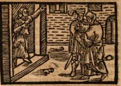 Ilustración del acto XVI de la edición de Estella (1557)