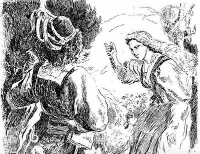 """""""Vete de ahí torpe"""" Ilustración del Acto I, de Segrelles (1946)"""