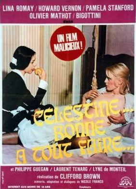 Cartel anunciador de Celestina, bonne a tout faire, de Jess Franco 1974.