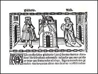 Grabado del acto XXI de la edición de Valencia (1514)