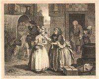 A Harlot's Progress (Carrera de una prostituta), grabado número uno, de Hogarth, 1731