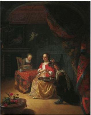 Alcahueta con pareja joven en una sala, de Schalcken (1674 c.)