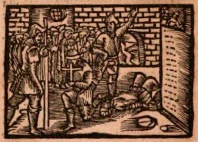 Ilustración segunda del acto XX de la edición de Estella (1557)