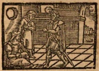 Ilustración del acto XXI de la edición de Estella (1557)