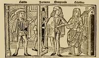 Grabado del acto I de la edición de Burgos (1499)