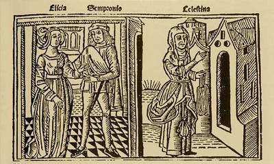 Grabado del acto III de la edición de Burgos, 1499