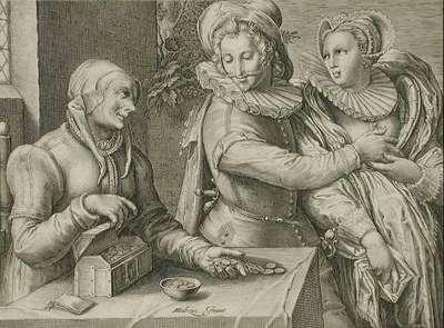 El hombre elige a una mujer joven, de Matham (1600 c.)