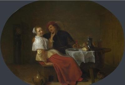 Dos amantes en una mesa, de Sorgh (1644)