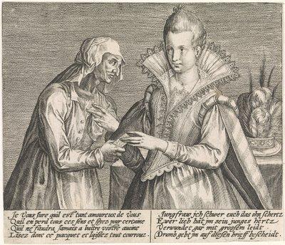 Grabado de una vieja dando una carta a una joven, de Passe ( 1600 c.)