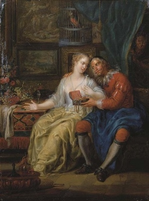 Una pareja amorosa en un interior, de Janneck (1731 c.)
