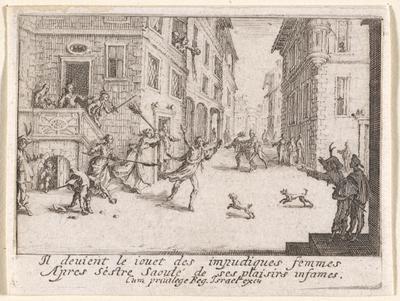 La expulsión del hijo prodigo, de  Callot (1635)