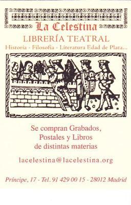 Tarjeta de librería teatral La Celestina, Madrid (2000 circa)