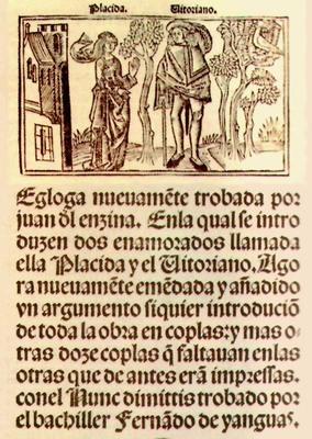 Égloga de Plácida y Vitoriano, de Juan del Encina (1518.c)