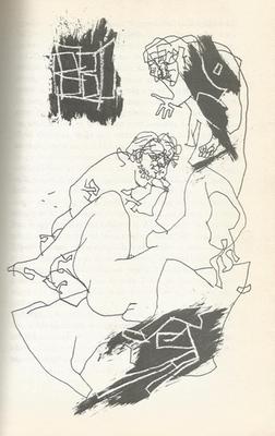 Ilustración de Celestina, Pármeno y Areúsa de la edición de Budapest (1979)