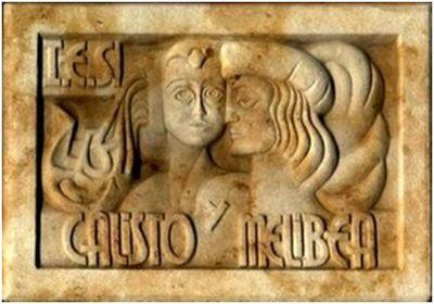 Relieve en piedra de Calisto y Melibea, IES Calisto y Melibea (circa 2000)